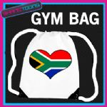 SOUTH AFRICA HEART FLAG HEART LOVE GYM DRAWSTRING WHITE GYMSAC BAG